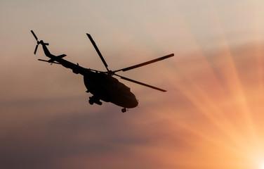 Ukrainian military helicopter in flight
