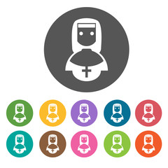 Nun icons set. Round colourful 12 buttons. Vector illustration e