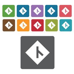 Y fork junction sign icon symbol set. Traffic signs set. Rectang