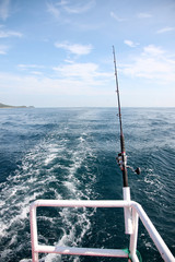 Fishing rod on a boat.