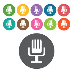 Microphone sign icon symbol set. Video interface set. Round colo