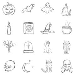 Vector Sketch Halloween Icons