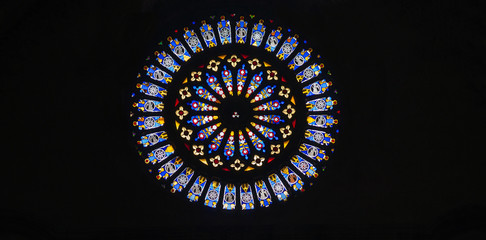 Rose window,religious theme leadlight window