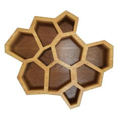 abstract empty wooden hexagonal shelf