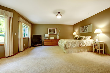 Spacious warm bedroom with brown walls