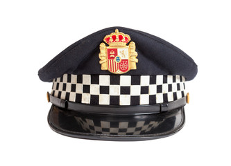 Peaked cap of the Spanish policeman on a white background