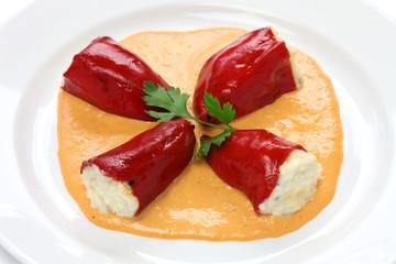 stuffed piquillo peppers, spanish cuisine