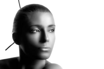 Spa woman. Monochrome Portrait isolated on white