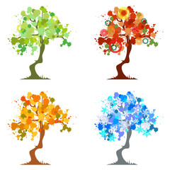 Abstract tree - graphic elements - Four Seasons