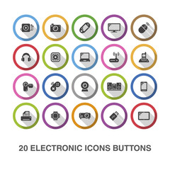 Electronic flat icons/ buttons with shadow.