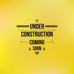 Under construction sign, typographic design