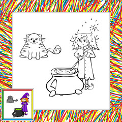 cartoon witch cooking a potion in a cauldron