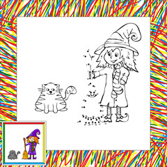 Funny witch dot to dot