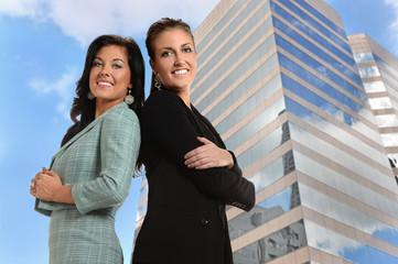 Businesswomen in Front of Office Building