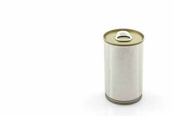Aluminum tin can on white background.