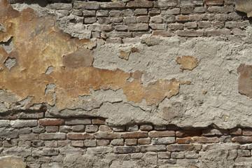 Painted old brick wall