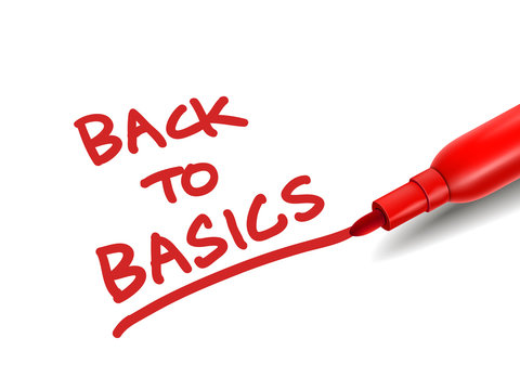 the words back to basics with a red marker