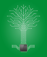 Circuit board tree on green background