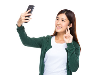 Asian woman take selfie