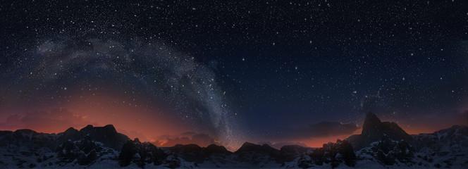 Milky way. 3d panorama view.