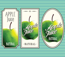 Apple juice labels set