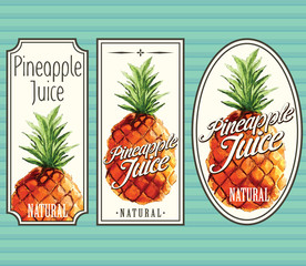 Pineapple juice labels set