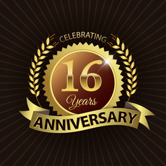 Celebrating 16 Years Anniversary - Laurel Wreath Seal & Ribbon