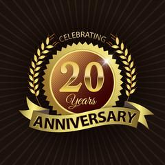 Celebrating 20 Years Anniversary - Laurel Wreath Seal & Ribbon