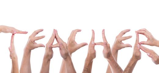 hands form the word teacher