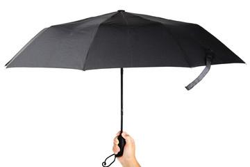 Modern black umbrella in handon white background.