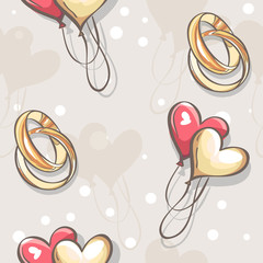 wedding seamless texture with hearts and balloons wedding rings