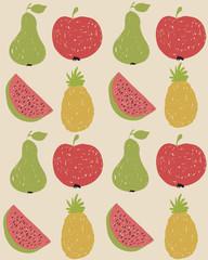 Doodle fruit pattern in retro colors