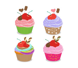 Set of delicious cupcakes isolated on white background