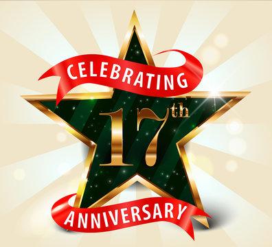 17 year anniversary celebration golden star ribbon