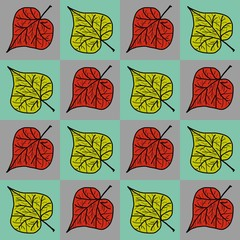 Seamless pattern with a autumn leaves