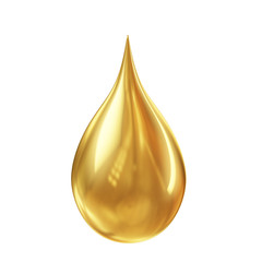 golden oil droplet isolated on white background