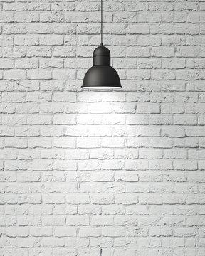 hanging industrial lamp lighting vintage white brick wall