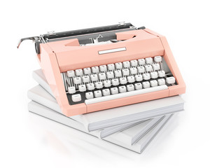3d model of vintage pink typing machine on pile of blank books
