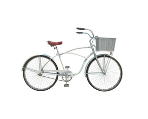 3d model of white retro bicycle