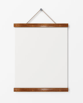 blank poster with wooden frame hanging on the white wall