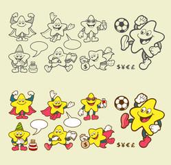 Super star cartoon character icons.