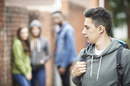 Teenage Boy Feeling Intimidated As He Walks Home