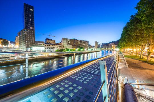 night view of Bilbao