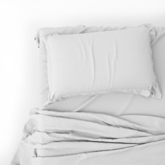 White Bed In Empty Space Isolated on White