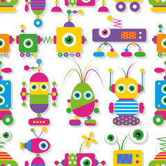 cute big-eyed robots collection pattern
