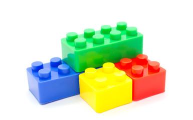 Lego Plastic building blocks on white background