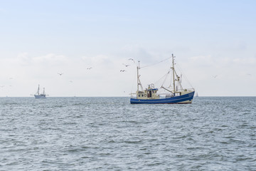 Fishing boats on a sea