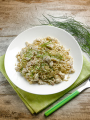 risotto with fish fillet  and sweet fennel