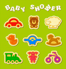 Baby shower. Vector set of wooden toys.