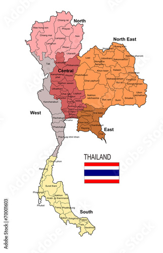 Thailand Region and Province Vector Map\